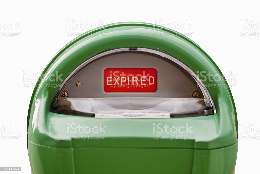 Parking Meter Expired in Green and Red stock photo
