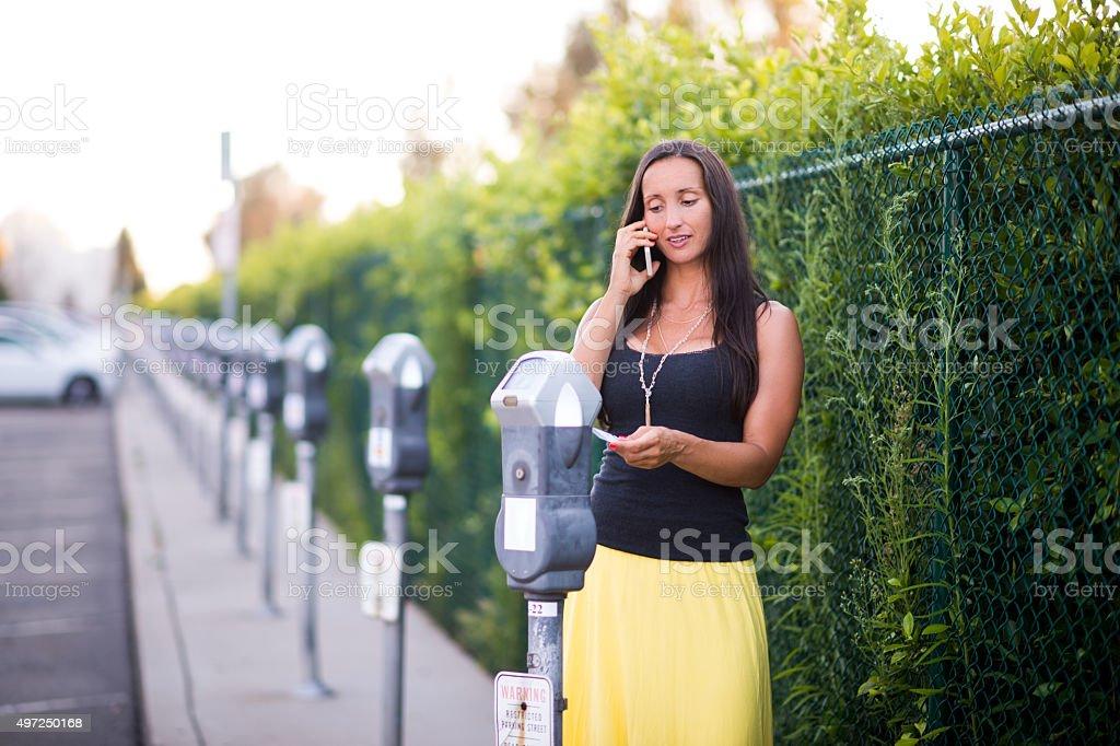 Parking meter fee stock photo