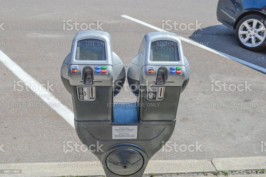 Parking meter in Burlington stock photo