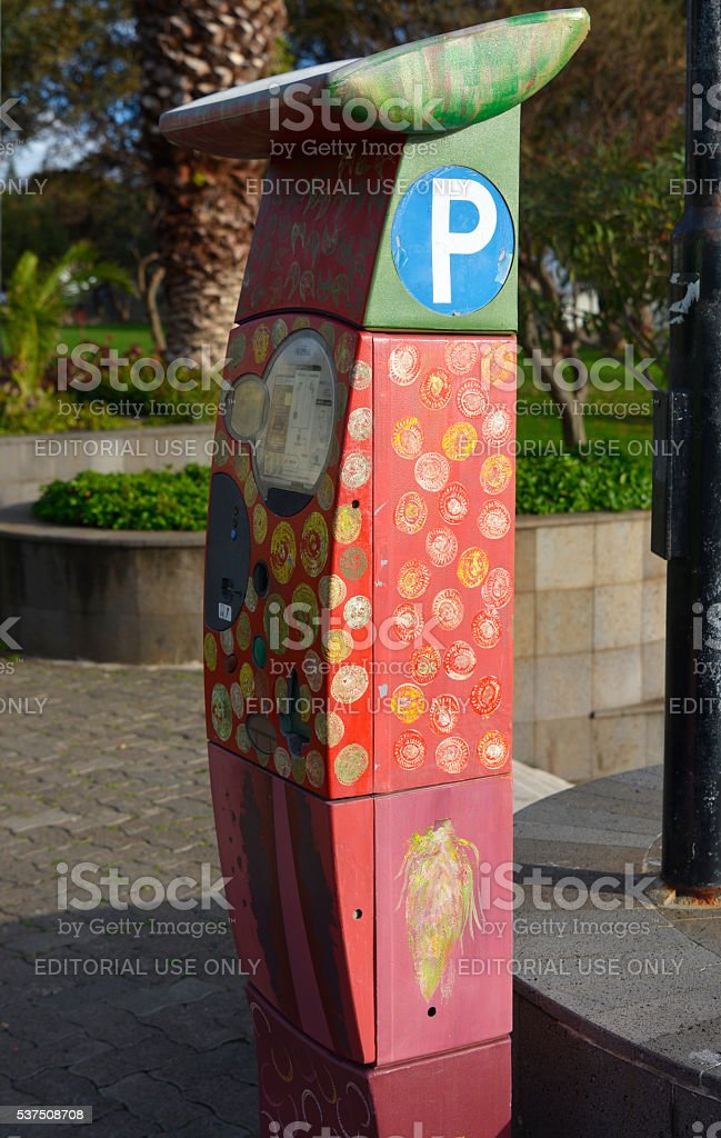 Parking Meter in Funchal, Madeira, Portugal stock photo