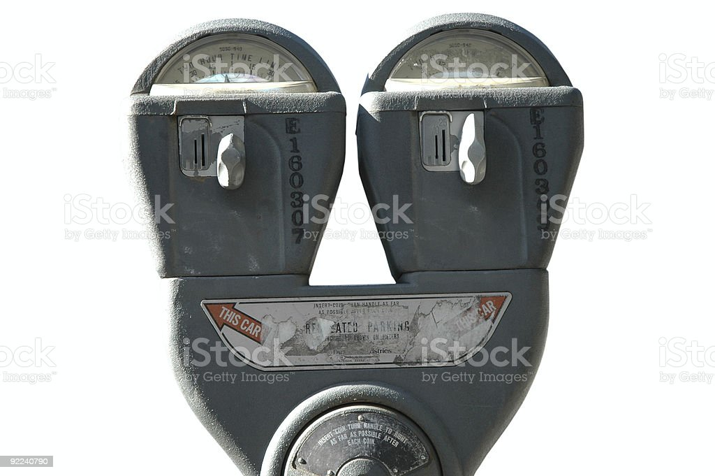 Parking Meter on White royalty-free stock photo