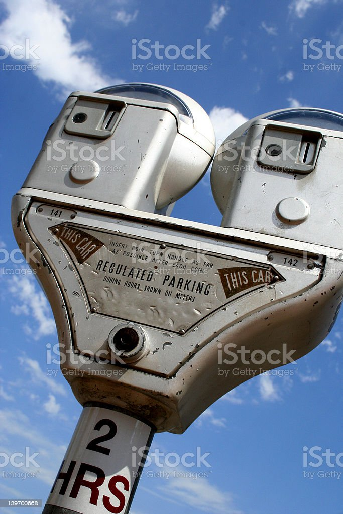 Parking Meter with Blue Sky royalty-free stock photo