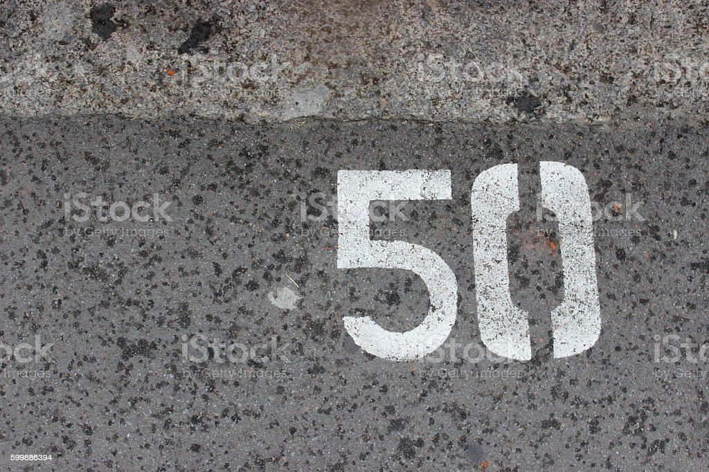 Parking number 50 stock photo
