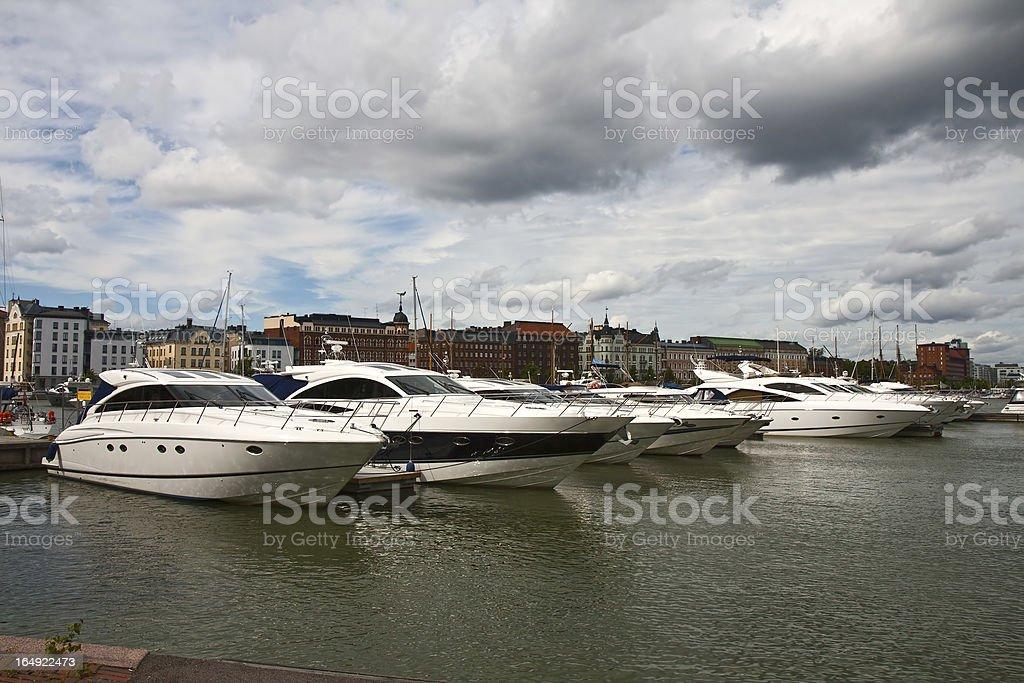 Parking of boats in Helsinki stock photo