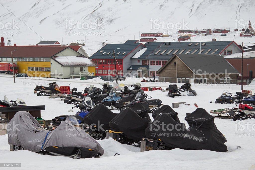 Parking of snowmobiles in Longyearbyen, Spitsbergen (Svalbard). stock photo