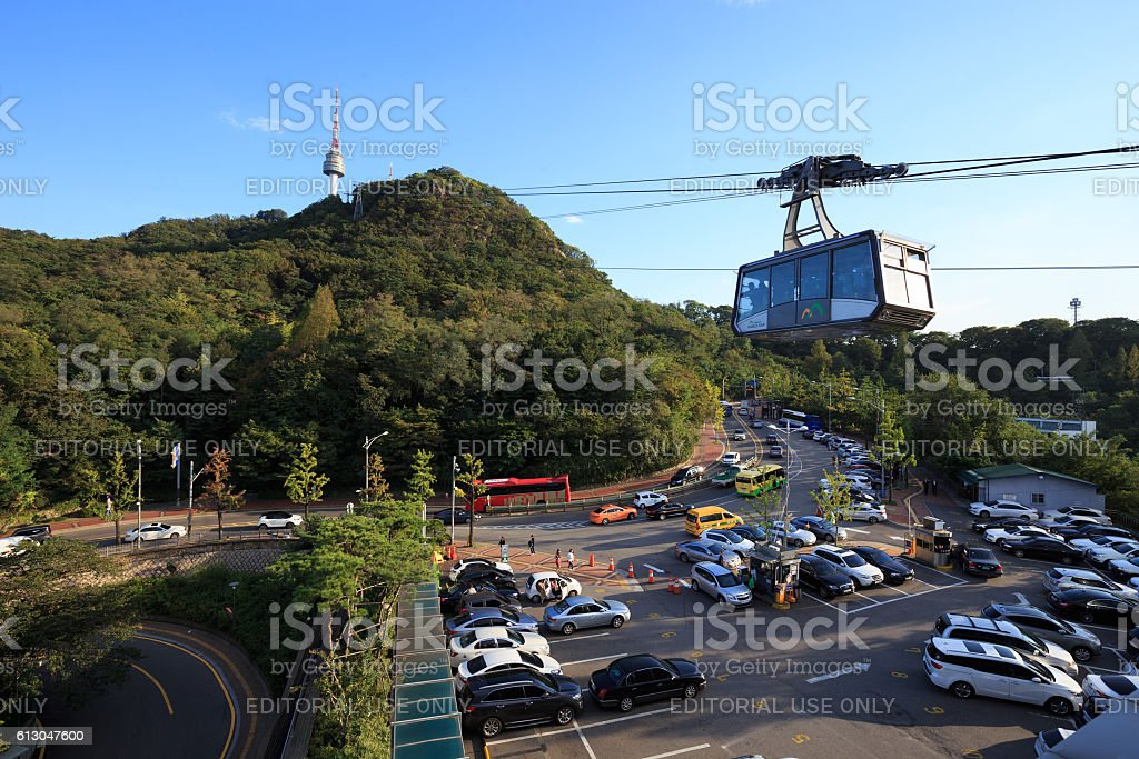 Parking place at N Seoul Tower (namsan) royalty-free stock photo