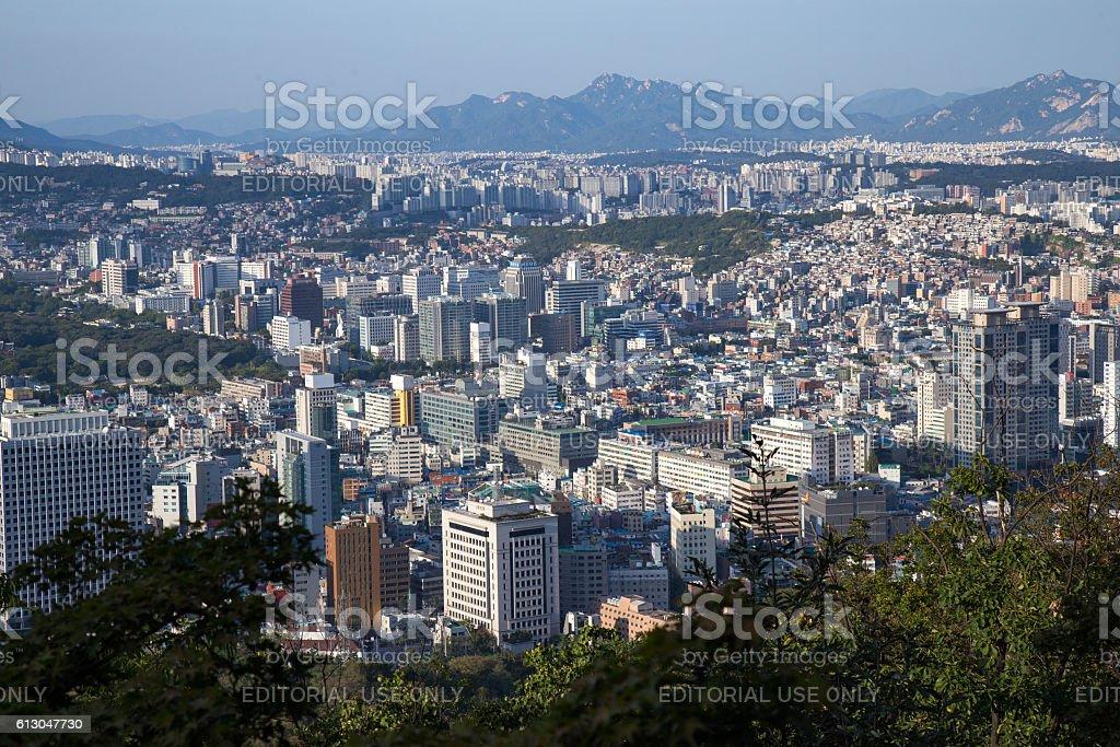 Parking place at N Seoul Tower (namsan) stock photo