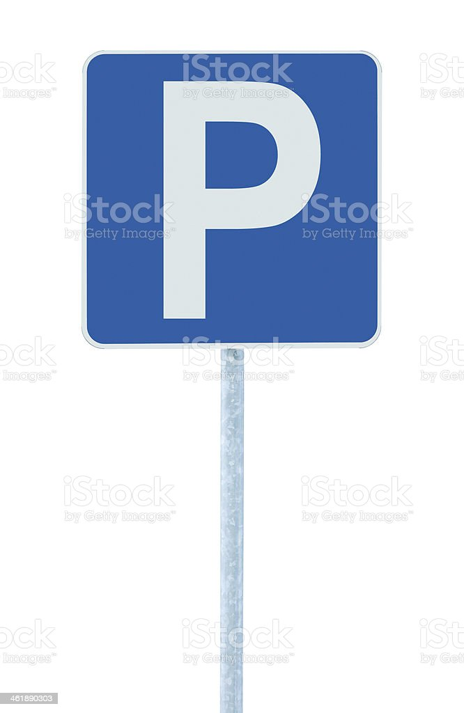 Parking place sign post pole, traffic road roadsign, blue isolated stock photo