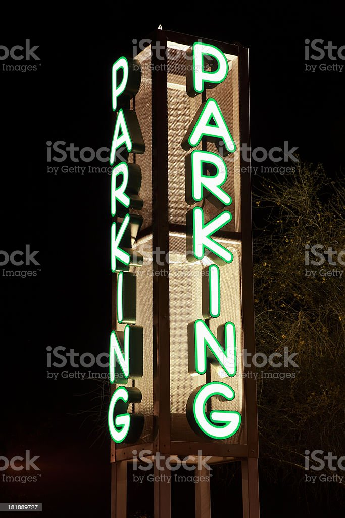 Parking Sign At Night royalty-free stock photo
