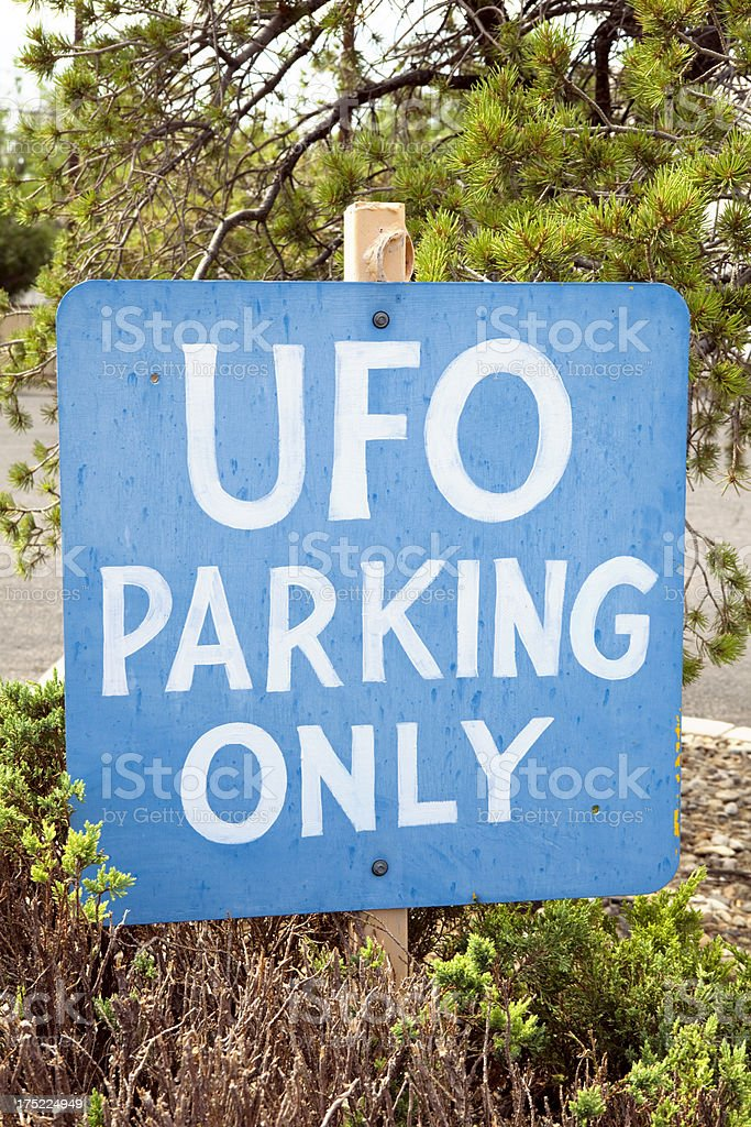 UFO Parking Sign in Roswell, New Mexico stock photo
