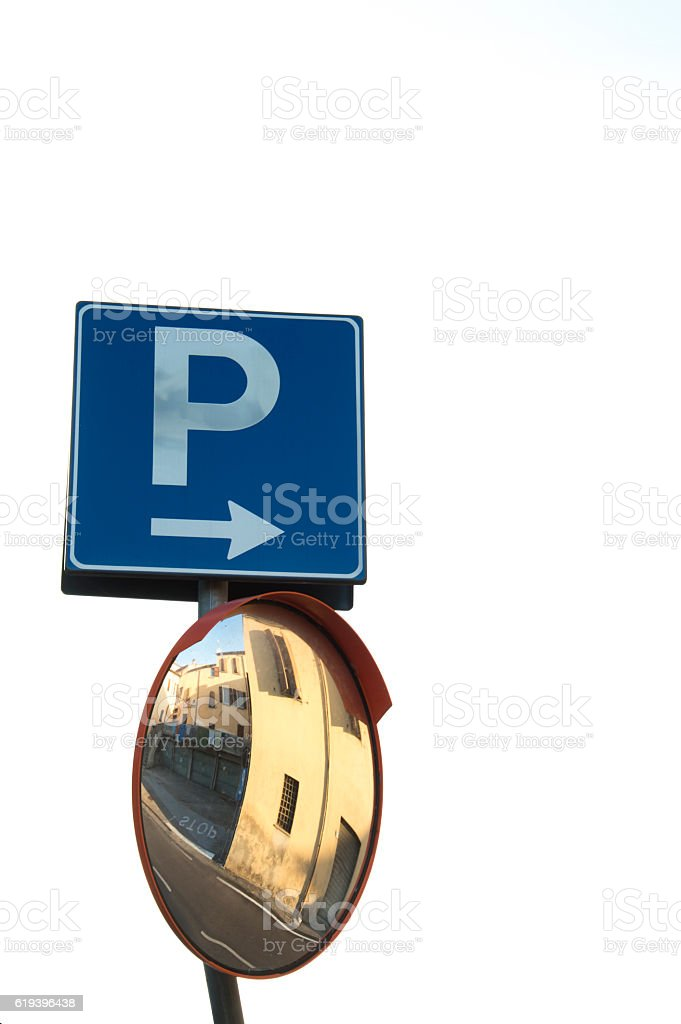 Parking sign with mirror stock photo