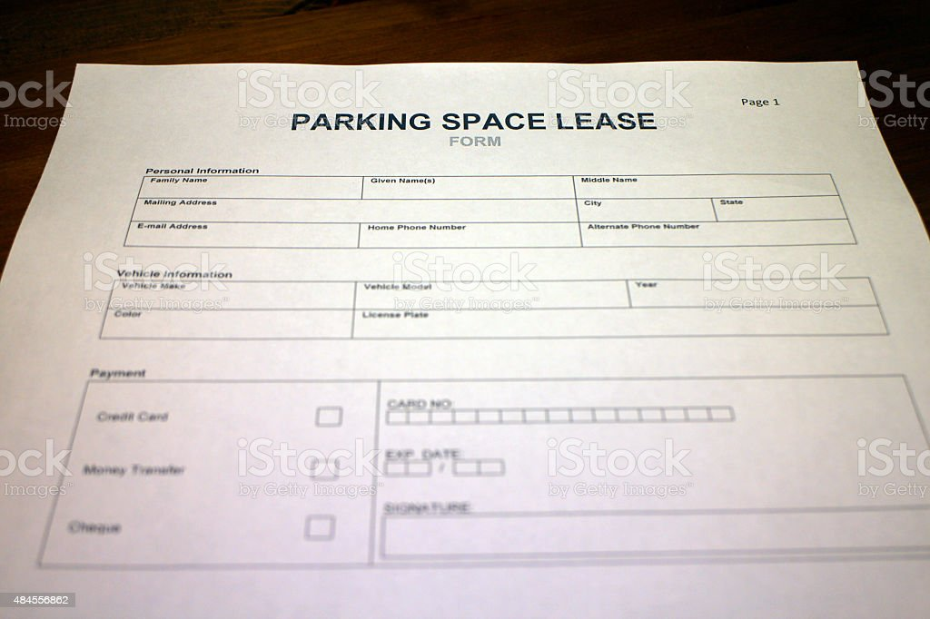 Parking Space Lease Contract Form stock photo 484556862 – Parking Agreement Template