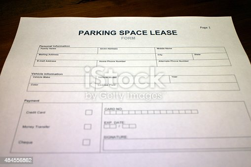 Parking Space Lease Contract Form Stock Photo 484556862 | Istock