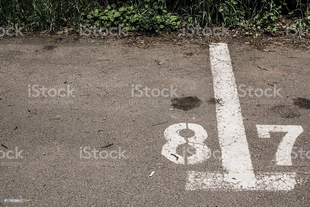 Parking spot delimitation stock photo