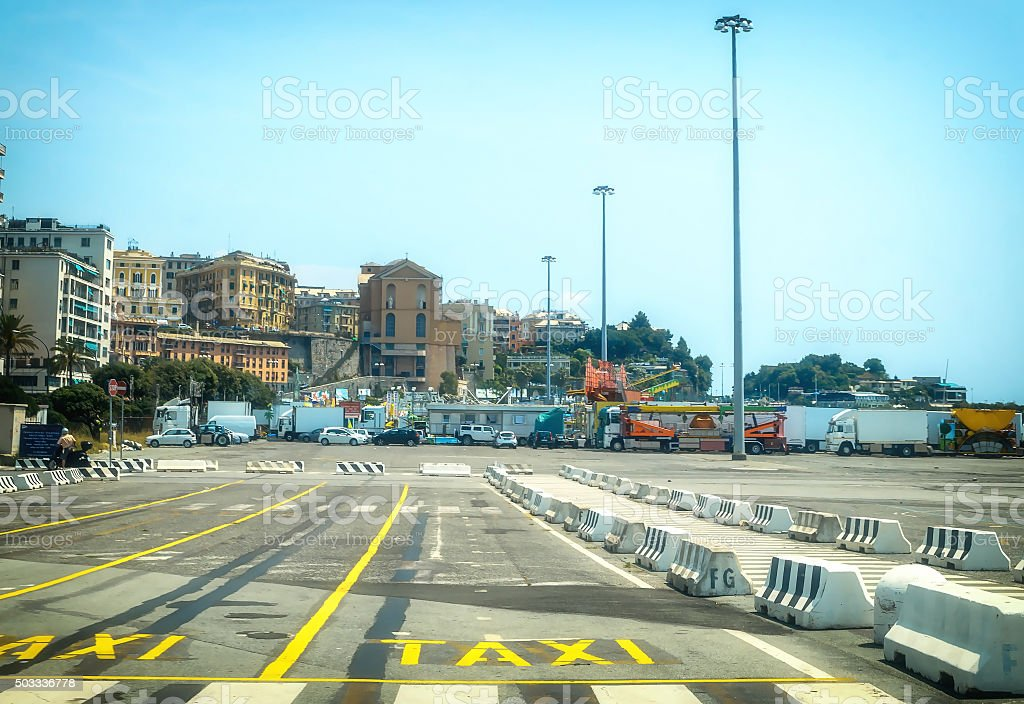 Parking Taxi port of Genoa in Italy stock photo
