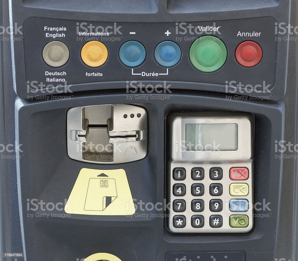 Parking ticket machine in the city of Strasbourg, France stock photo