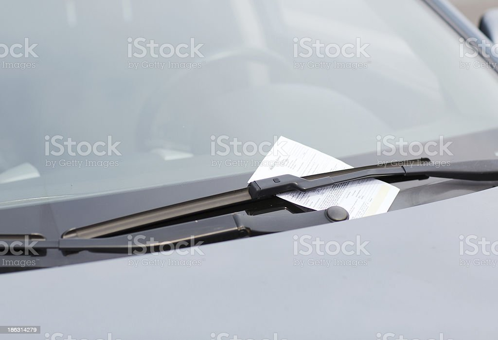 parking ticket on car windscreen royalty-free stock photo