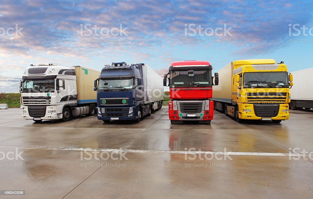 Parking trucks stock photo