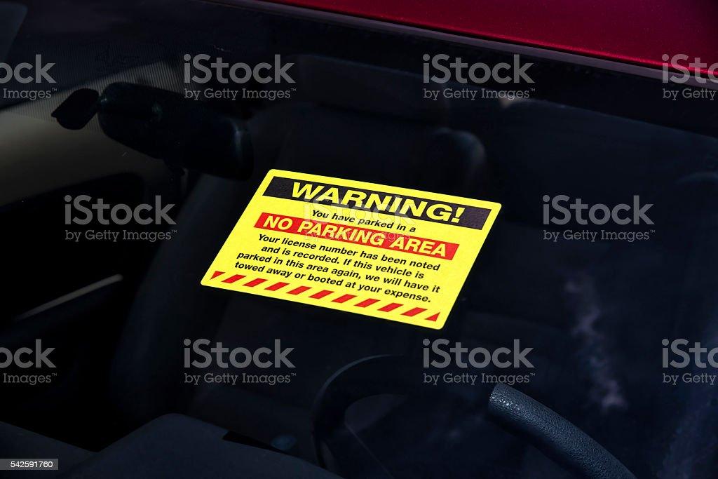 Parking Violation Window Sticker stock photo