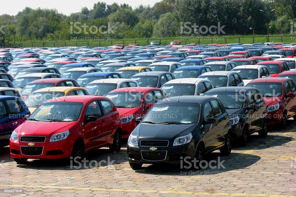 Parking with a new vehicles in car assembly plant stock photo