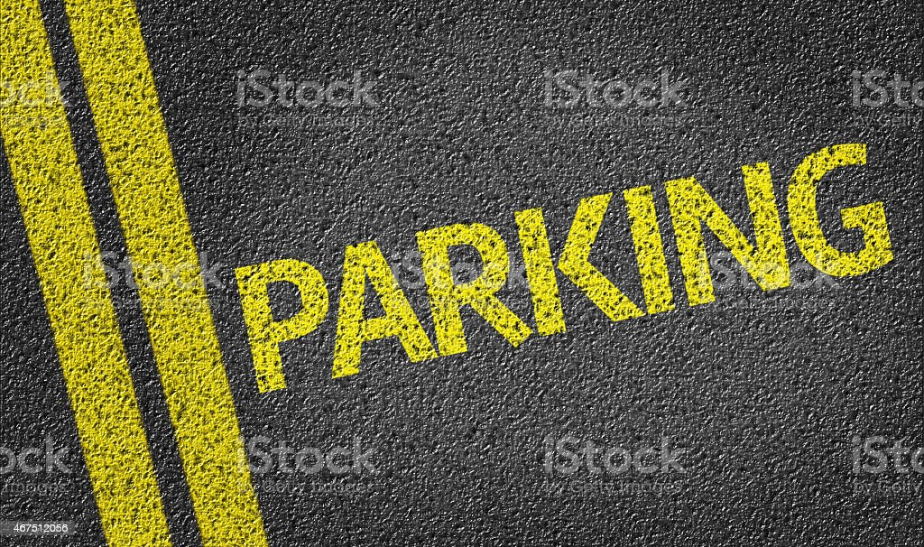 Parking written on the road stock photo