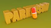 Parkinson 3d text and capsule