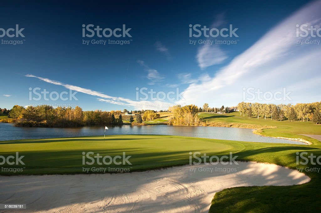 Parkland Golf Course Scenic With Water and Sand stock photo
