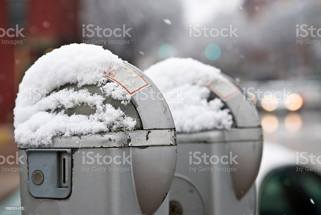 Parkng meters in winter stock photo