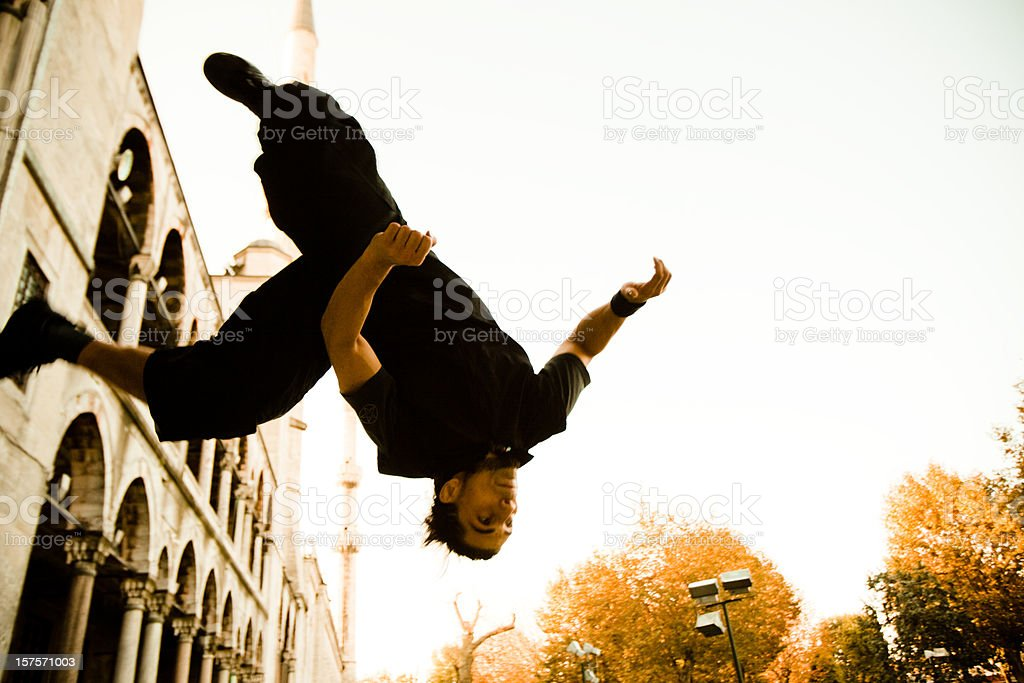 Parkour and freerunning in front of the Blue Mosque stock photo