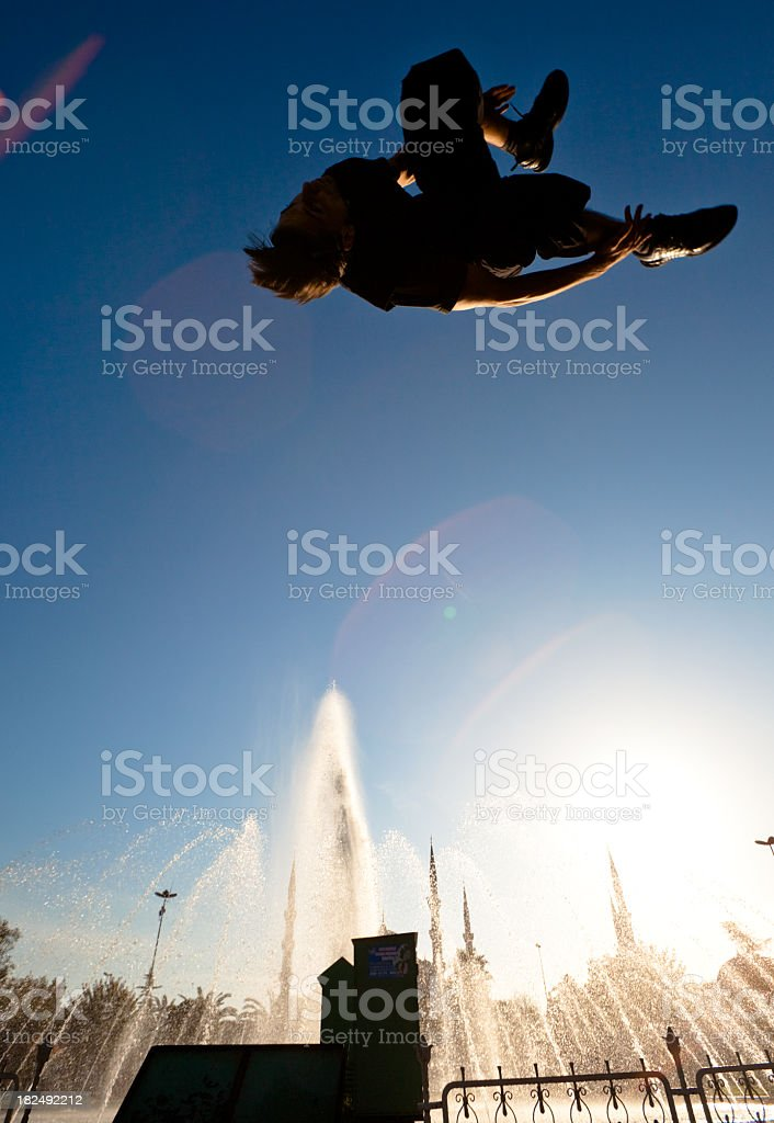 Parkour and freerunning in front of the Blue Mosque royalty-free stock photo