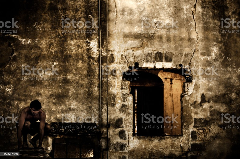 Parkour in old building royalty-free stock photo