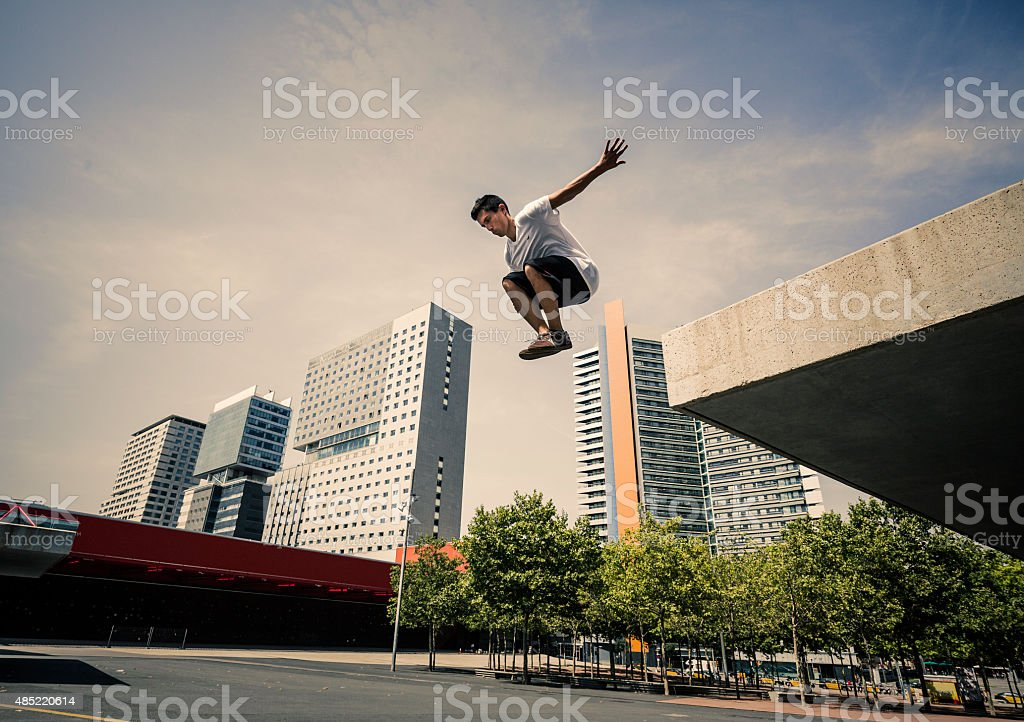 Parkour in the city stock photo