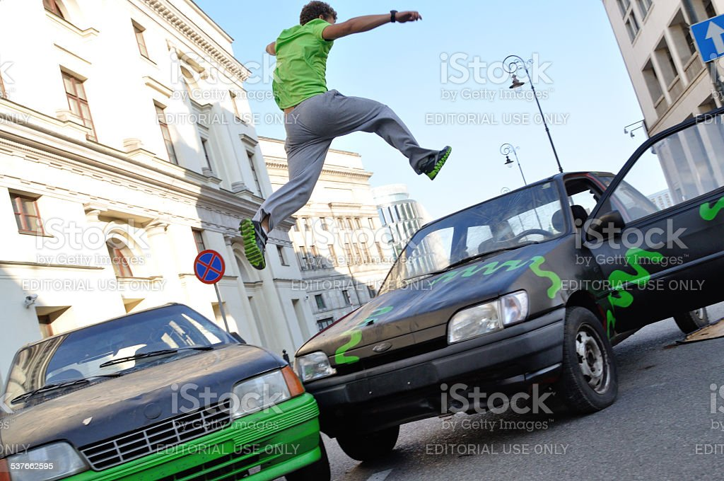 Parkour jump stock photo