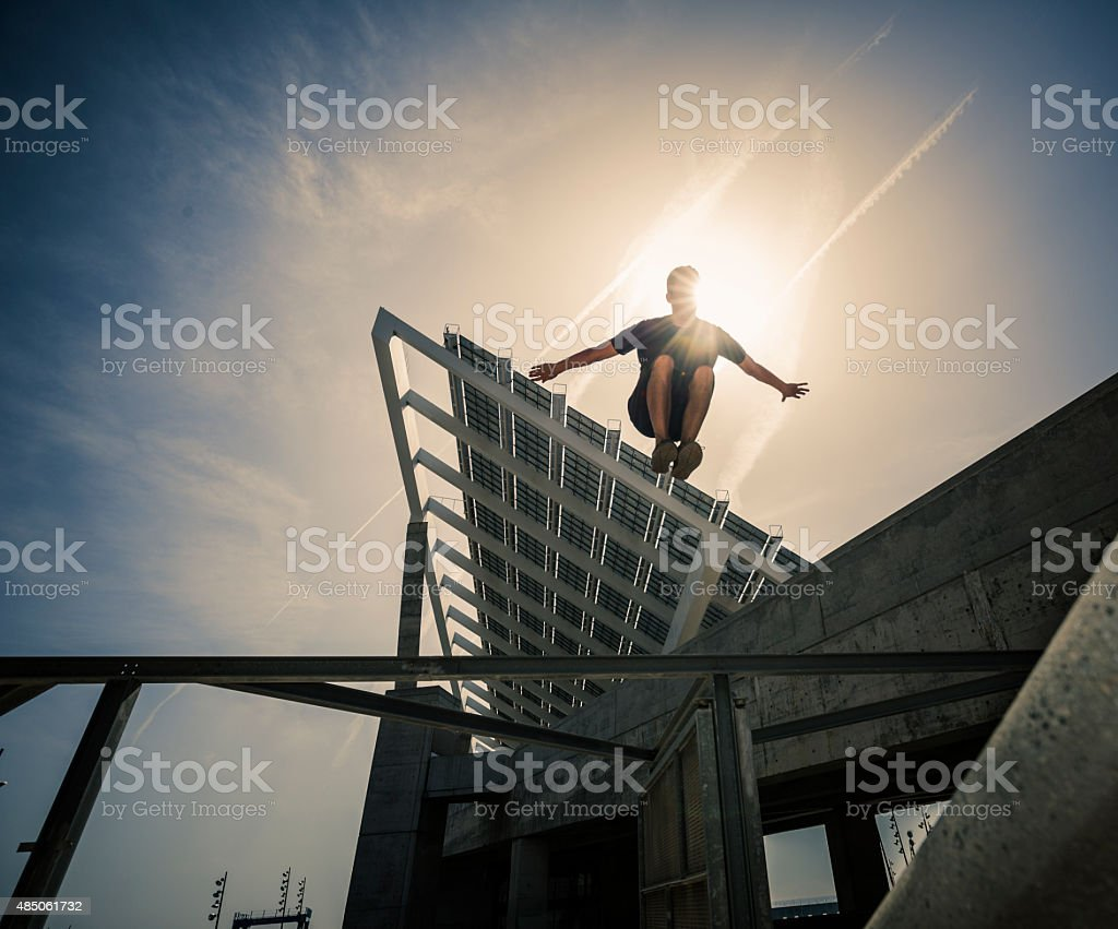 Parkour traceur jumping stock photo