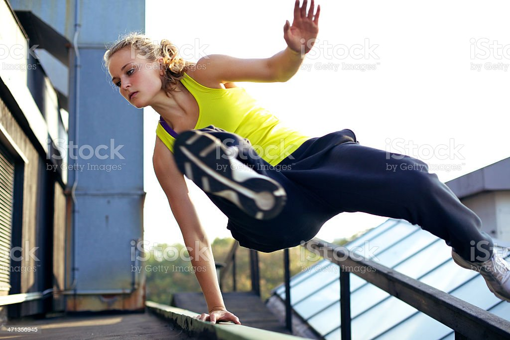Parkour Technique Vaulting Railing royalty-free stock photo