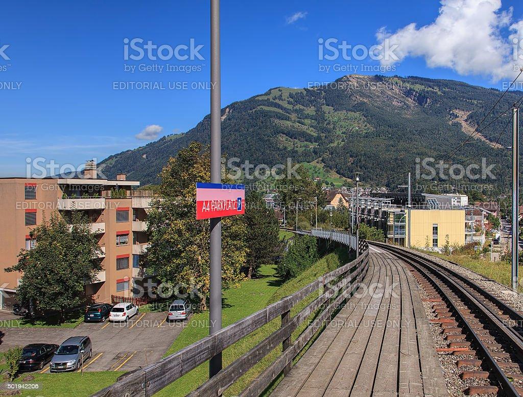 A4 Parkplatz station of Rigi Railways rack railroad stock photo