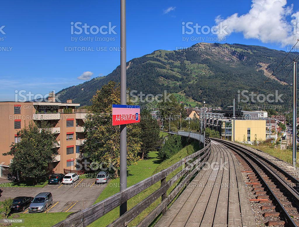 A4 Parkplatz station of Rigi Railways rack railroad stock photo