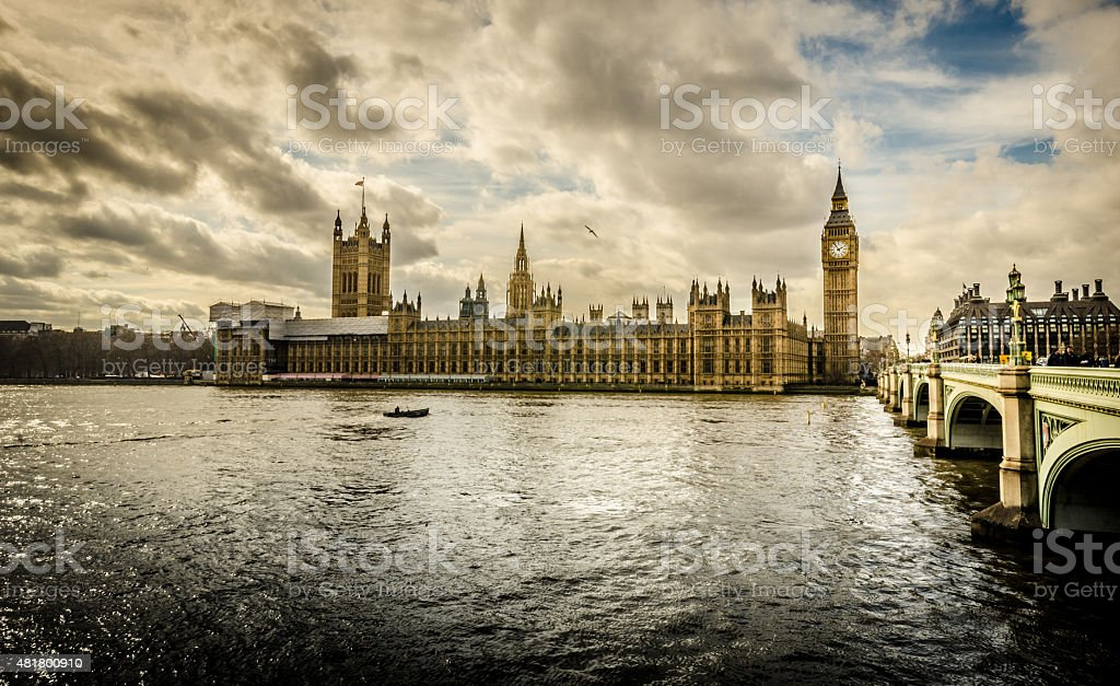 Parliament and Big Ben emblems in London stock photo