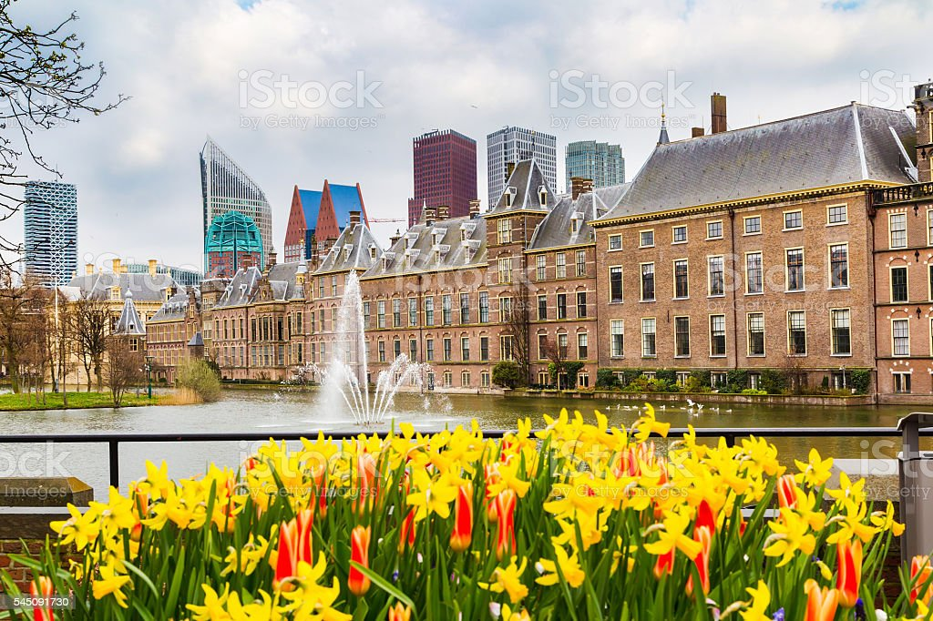 Parliament and court building complex Binnenhof in Hague, Holland stock photo