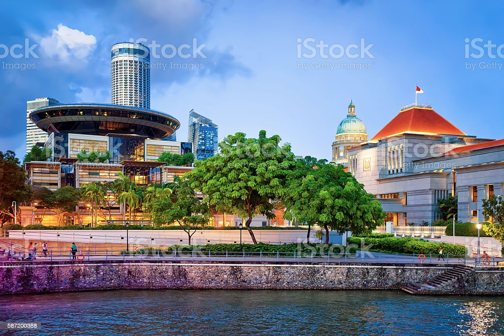 Parliament and Old and New Supreme Court Building in Singapore stock photo