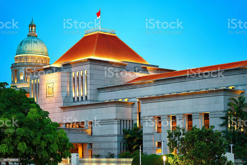 Parliament and Old Supreme Court Building at Boat Quay Singapore stock photo