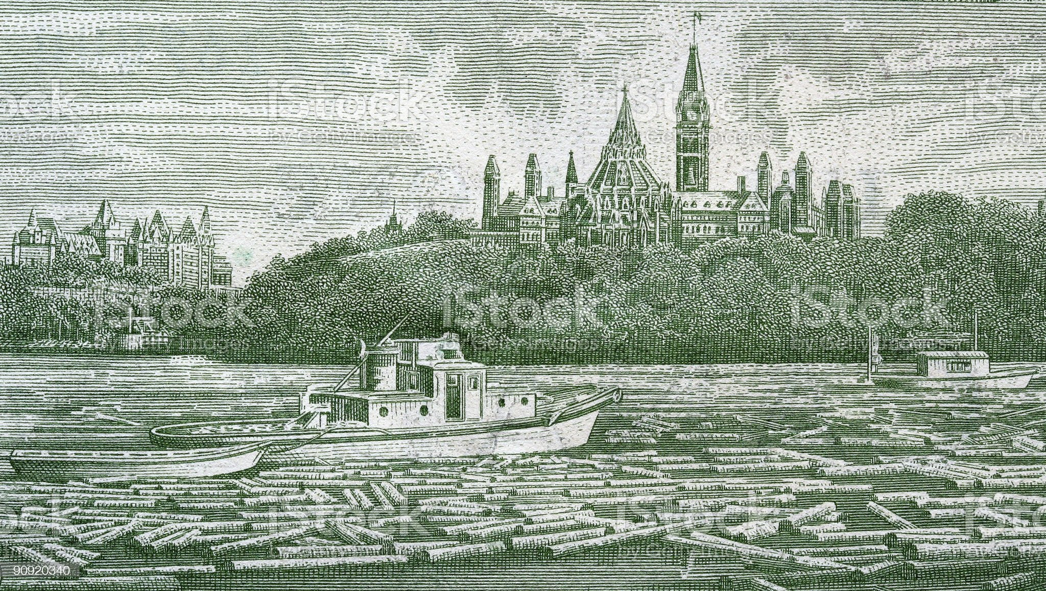 Parliament and Ottawa River royalty-free stock photo