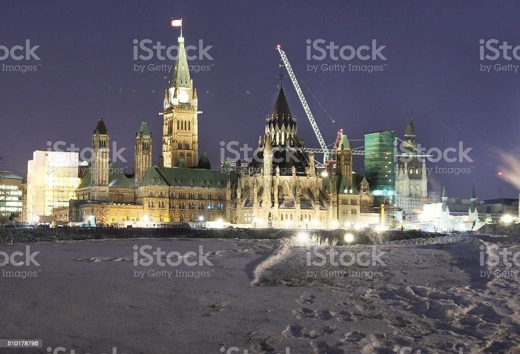 Parliament and Snow stock photo