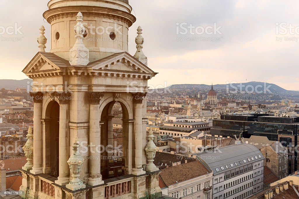 Parliament and St Stephen's Basilica in Budapest stock photo