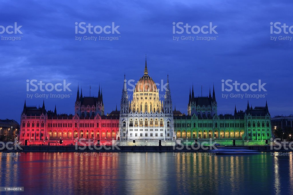 Parliament at dusk in Budapest, Hungary royalty-free stock photo