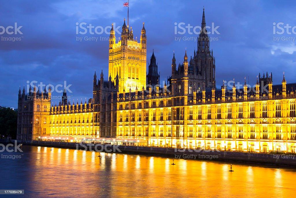 Parliament at night, London, England royalty-free stock photo