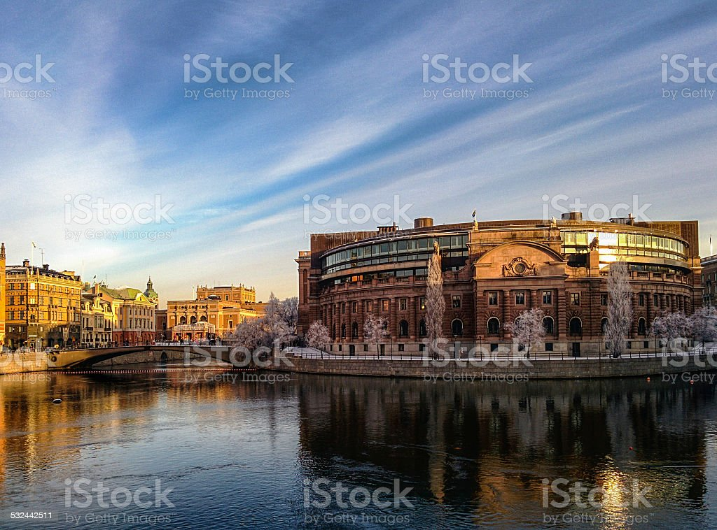 Parliament building at Helgeandsholmen stock photo