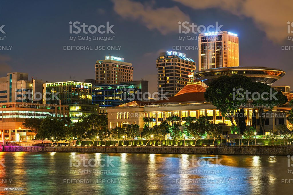 Parliament building at Marina Bay in Singapore at night stock photo
