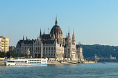 Parliament building, cruise ship on the Danube river bank, Budapest