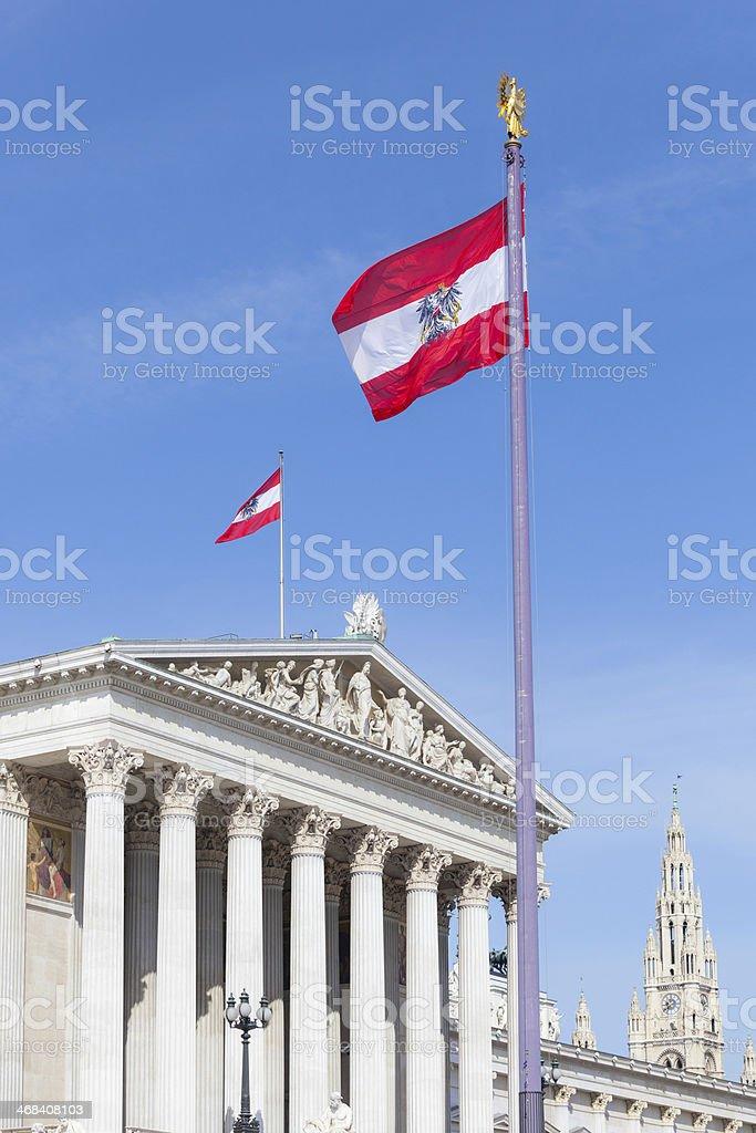 Parliament Building Exterior in Wien stock photo